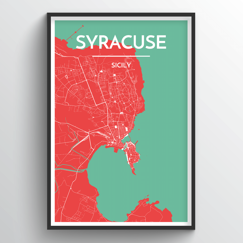 Syracuse City Map Art Print - Point Two Design