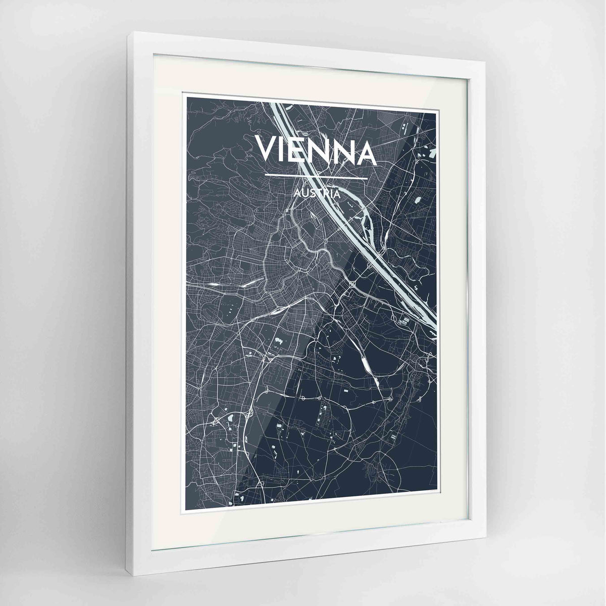 Vienna Map Art Print - Framed