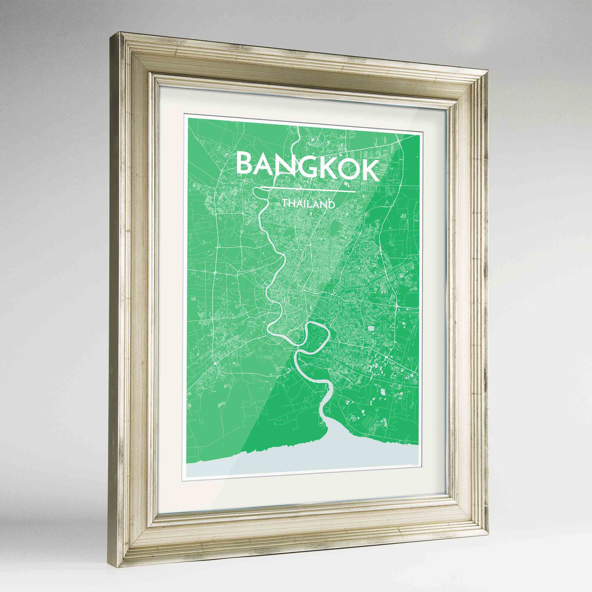 "Framed Bangkok Map Art Print 24x36"" Champagne frame Point Two Design Group"