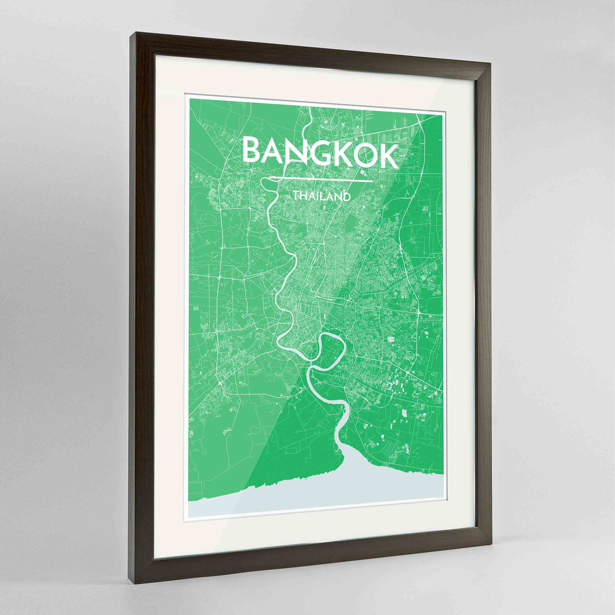 "Framed Bangkok Map Art Print 24x36"" Contemporary Walnut frame Point Two Design Group"