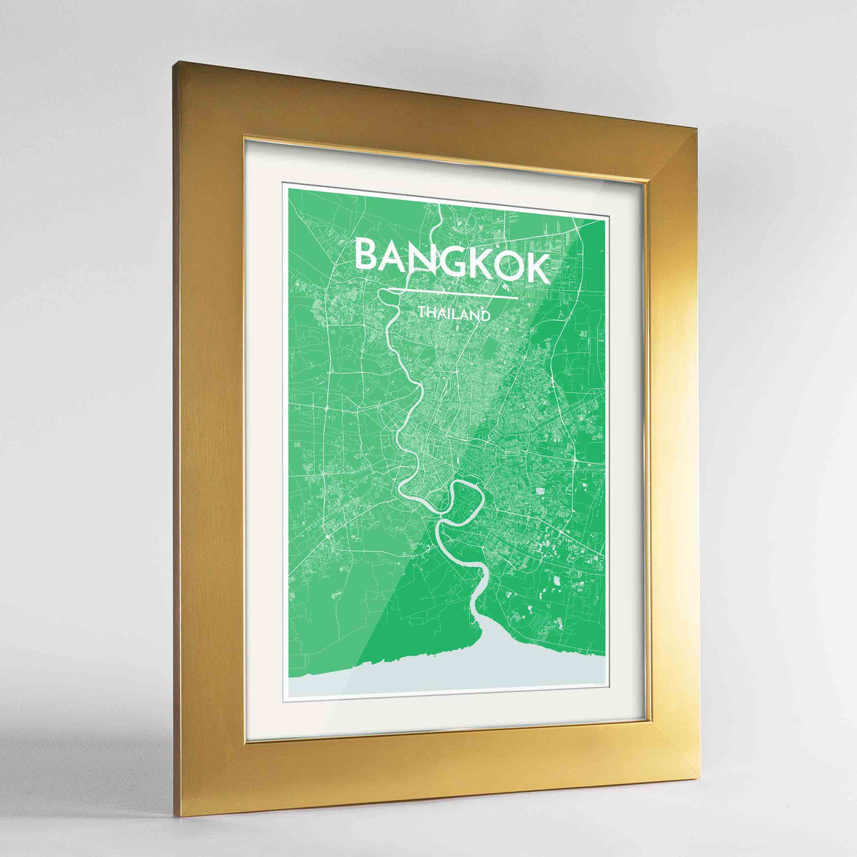 "Framed Bangkok Map Art Print 24x36"" Gold frame Point Two Design Group"