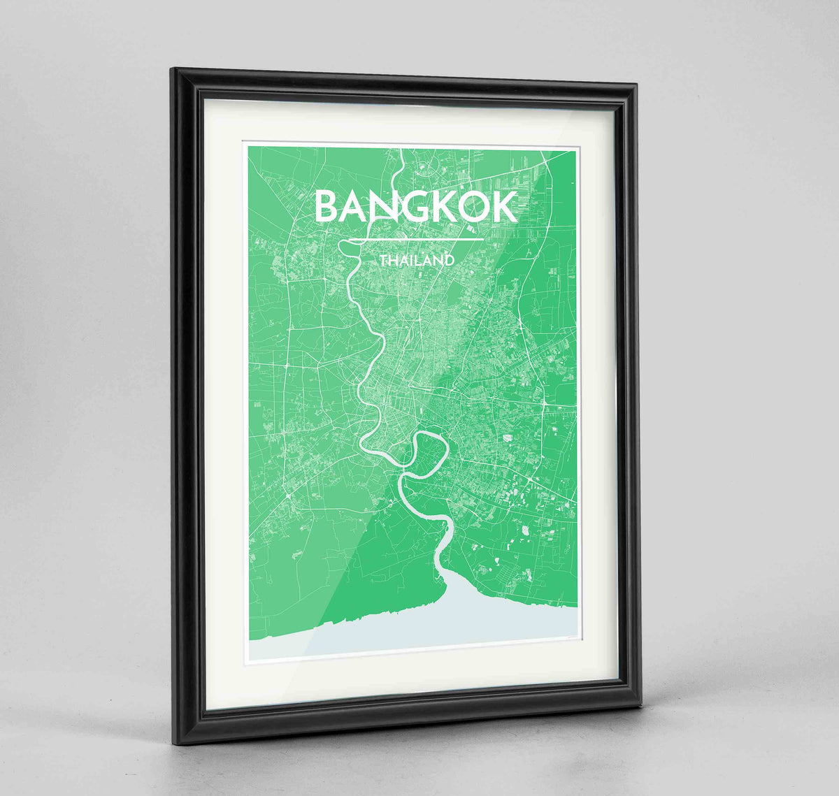 "Framed Bangkok Map Art Print 24x36"" Traditional Black frame Point Two Design Group"