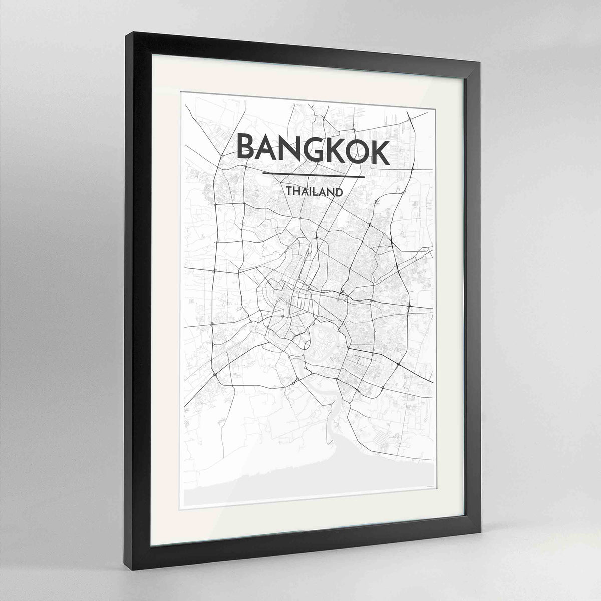 "Framed Bangkok Map Art Print 24x36"" Contemporary Black frame Point Two Design Group"