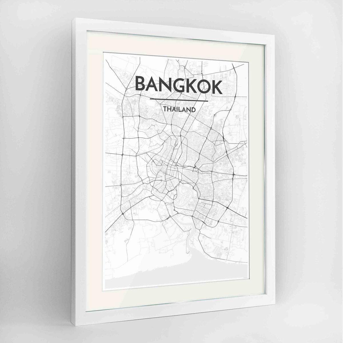 "Framed Bangkok Map Art Print 24x36"" Contemporary White frame Point Two Design Group"