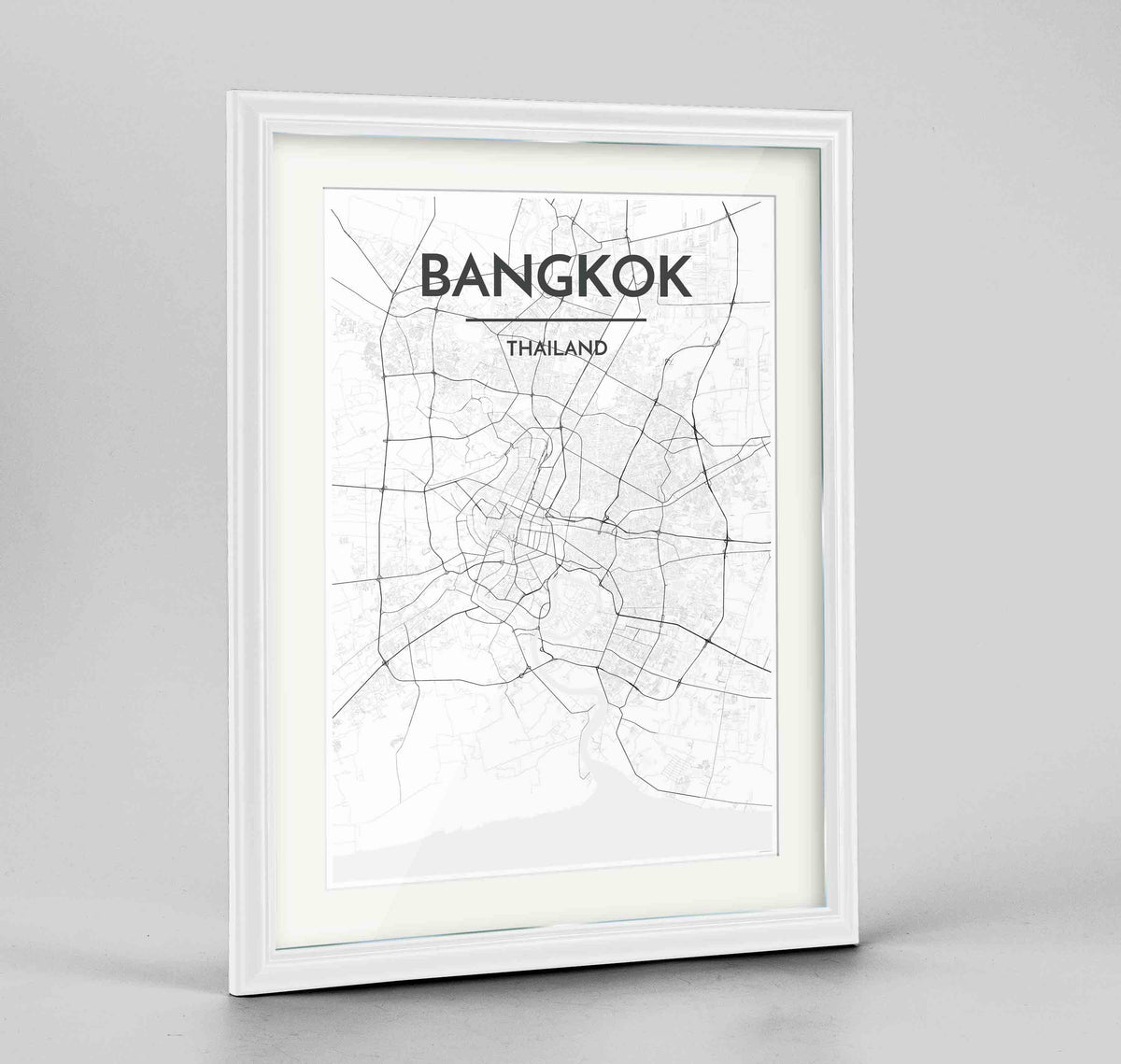 "Framed Bangkok Map Art Print 24x36"" Traditional White frame Point Two Design Group"