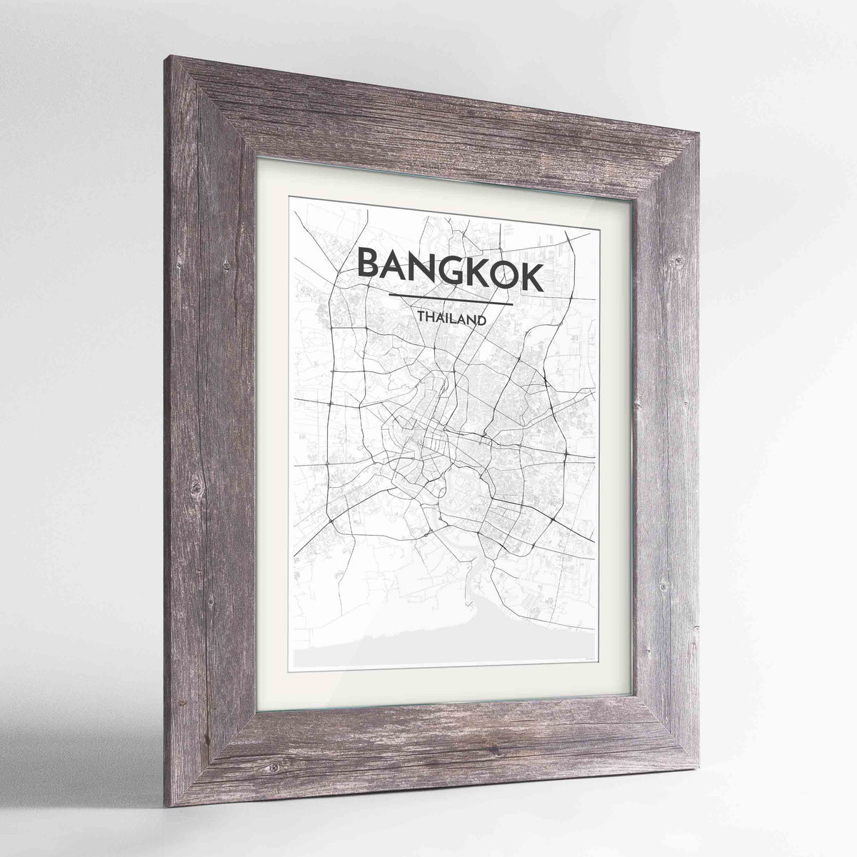 "Framed Bangkok Map Art Print 24x36"" Western Grey frame Point Two Design Group"