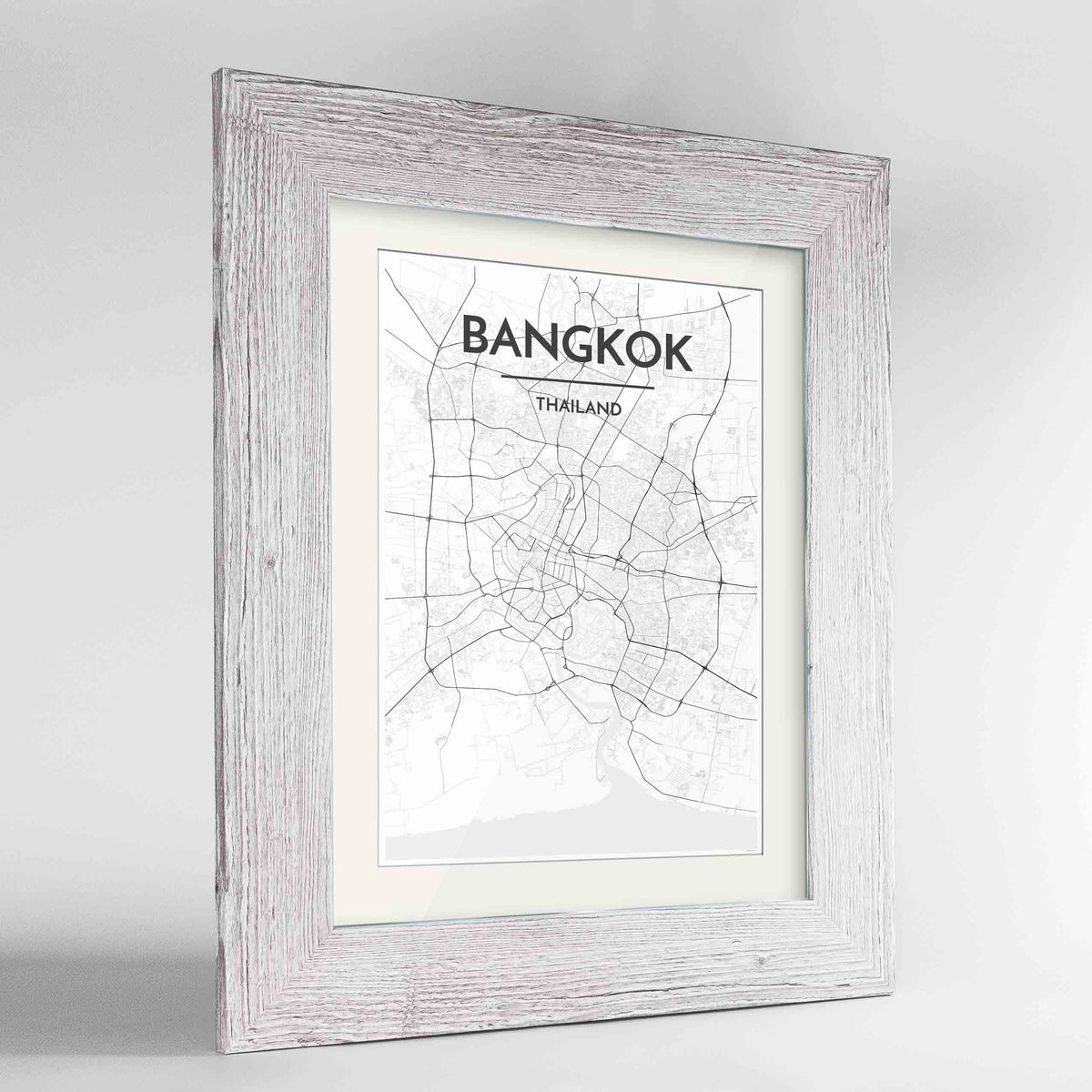 "Framed Bangkok Map Art Print 24x36"" Western White frame Point Two Design Group"
