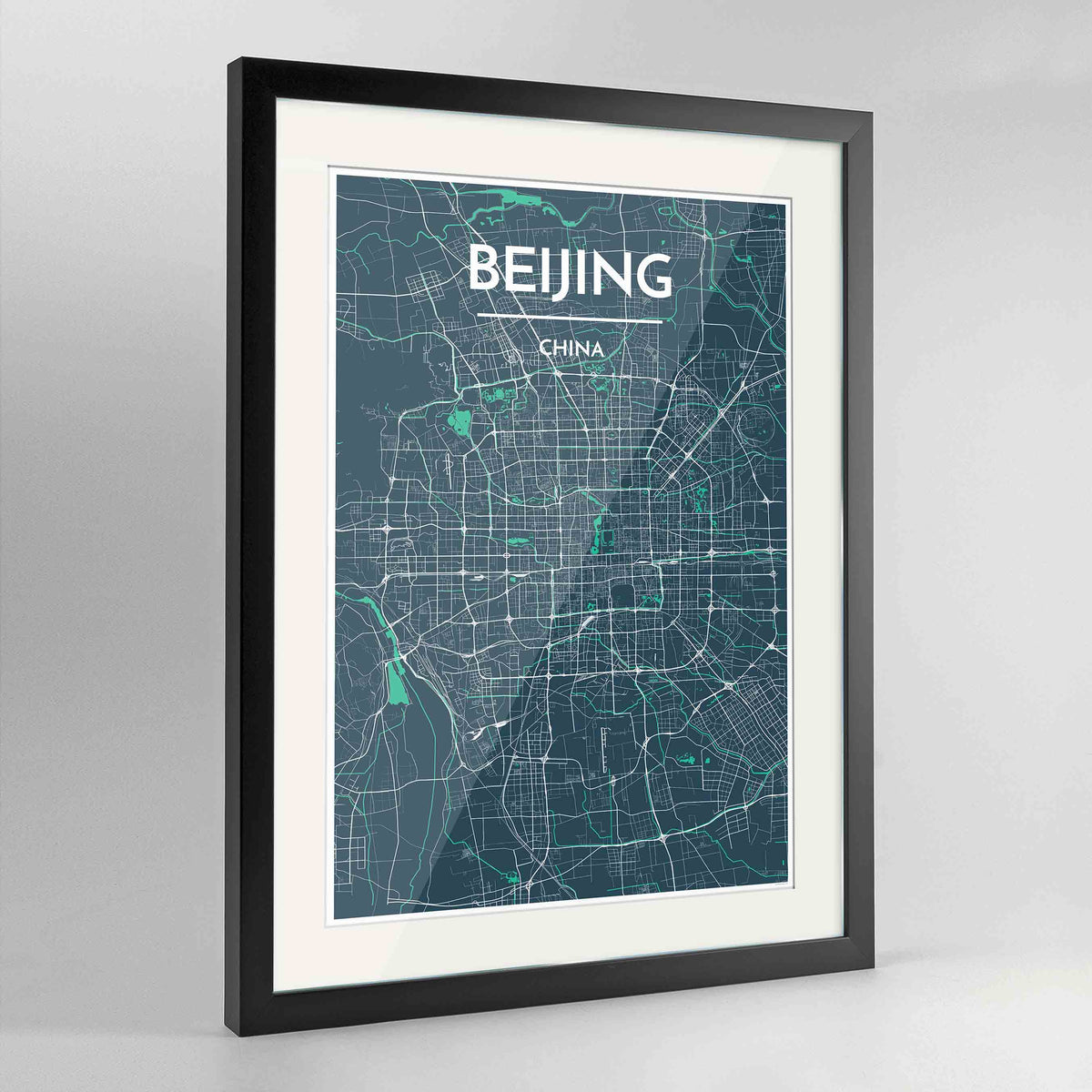 "Framed Beijing Map Art Print 24x36"" Contemporary Black frame Point Two Design Group"