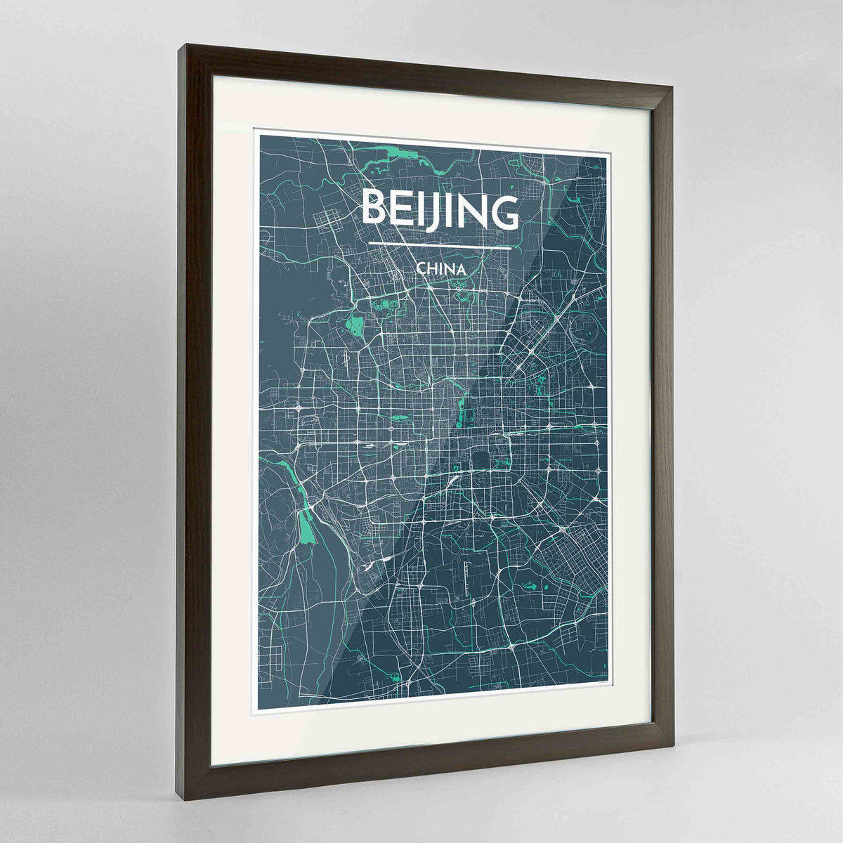 "Framed Beijing Map Art Print 24x36"" Contemporary Walnut frame Point Two Design Group"