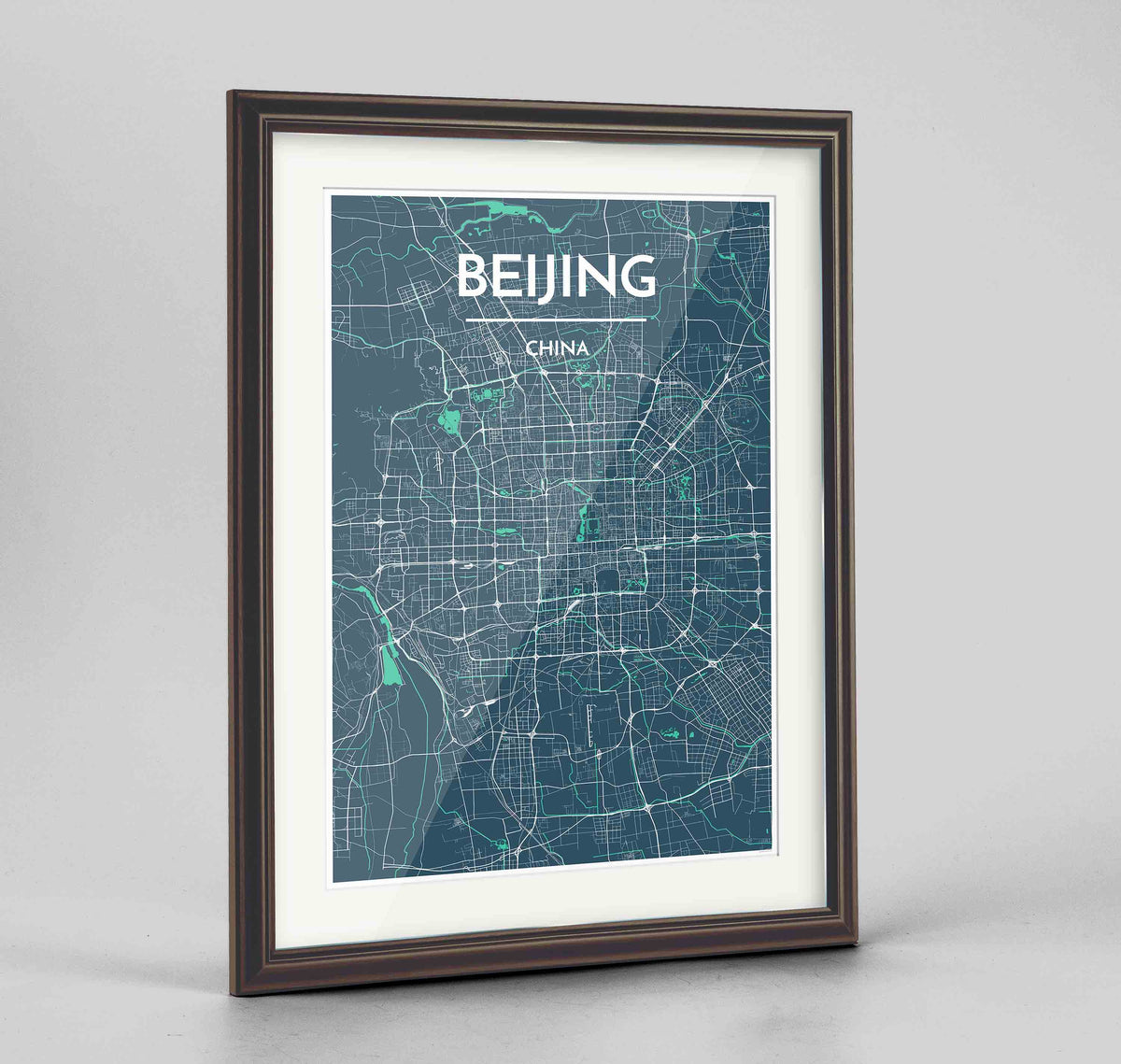 "Framed Beijing Map Art Print 24x36"" Traditional Walnut frame Point Two Design Group"