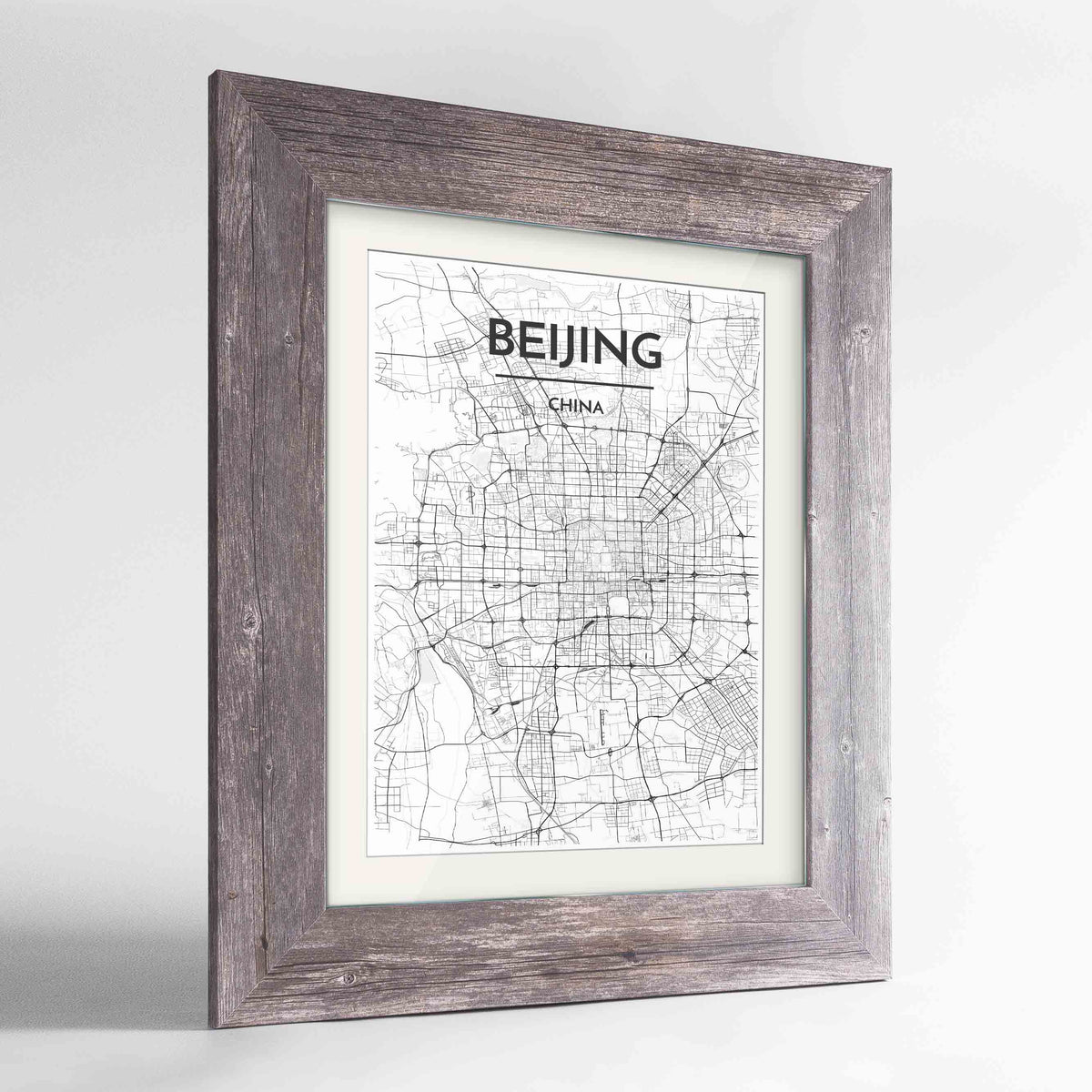 "Framed Beijing Map Art Print 24x36"" Western Grey frame Point Two Design Group"