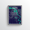Hanoi City Map Art Print - Point Two Design - Black & White Print