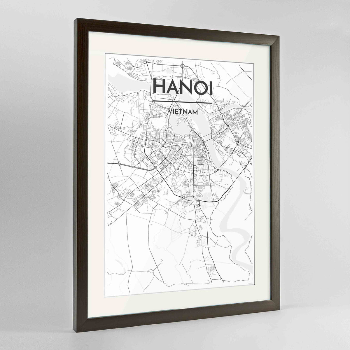 "Framed Hanoi Map Art Print 24x36"" Contemporary Walnut frame Point Two Design Group"