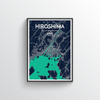 Hiroshima City Map Art Print - Point Two Design - Black & White Print