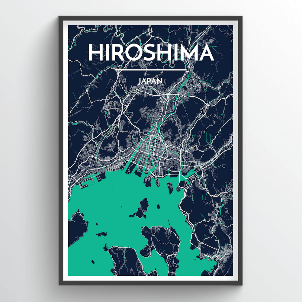 Hiroshima City Map Art Print - Point Two Design