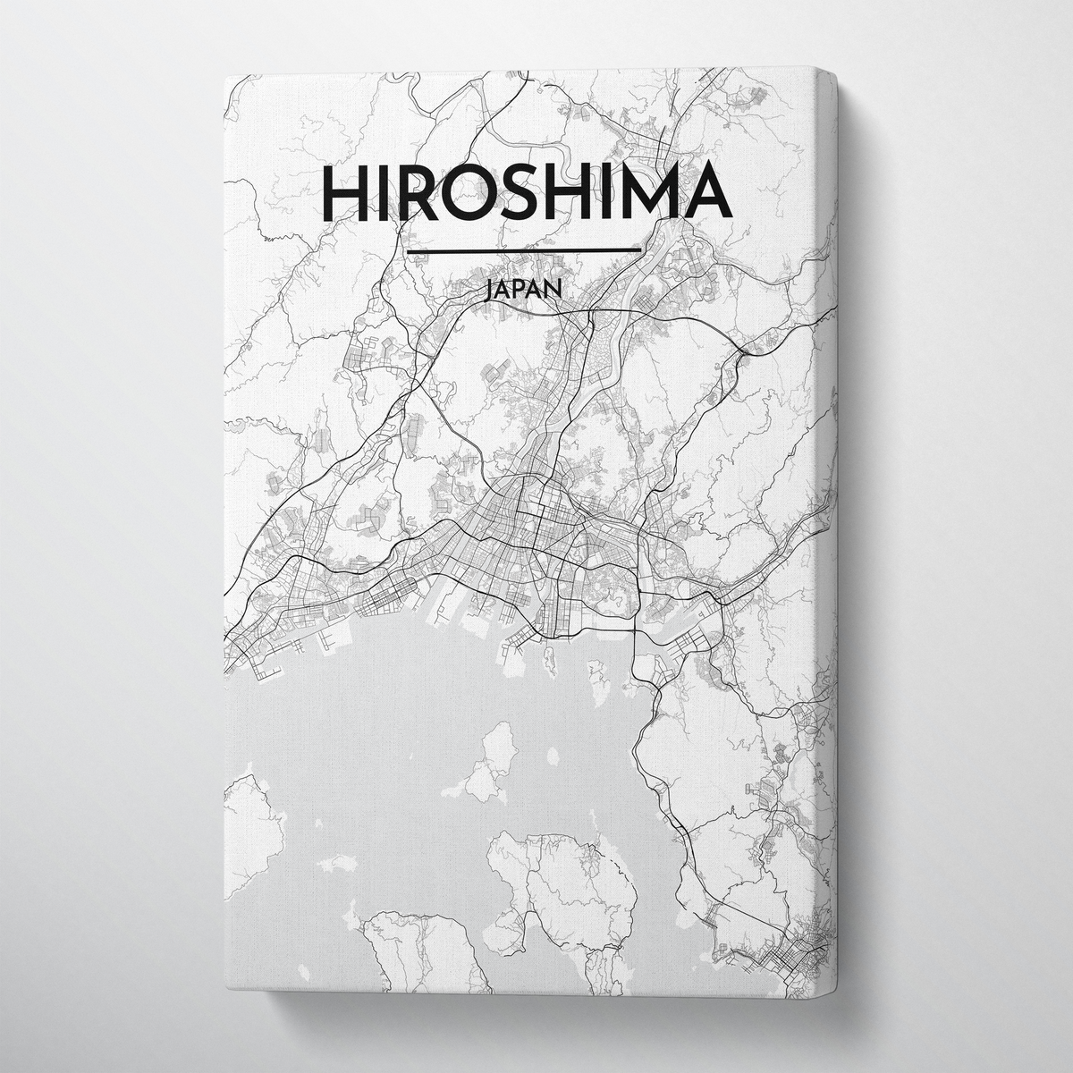 Hiroshima City Map Canvas Wrap - Point Two Design - Black & White Print