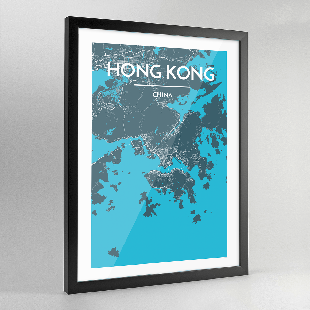 Framed Hong Kong City Map Art Print - Point Two Design