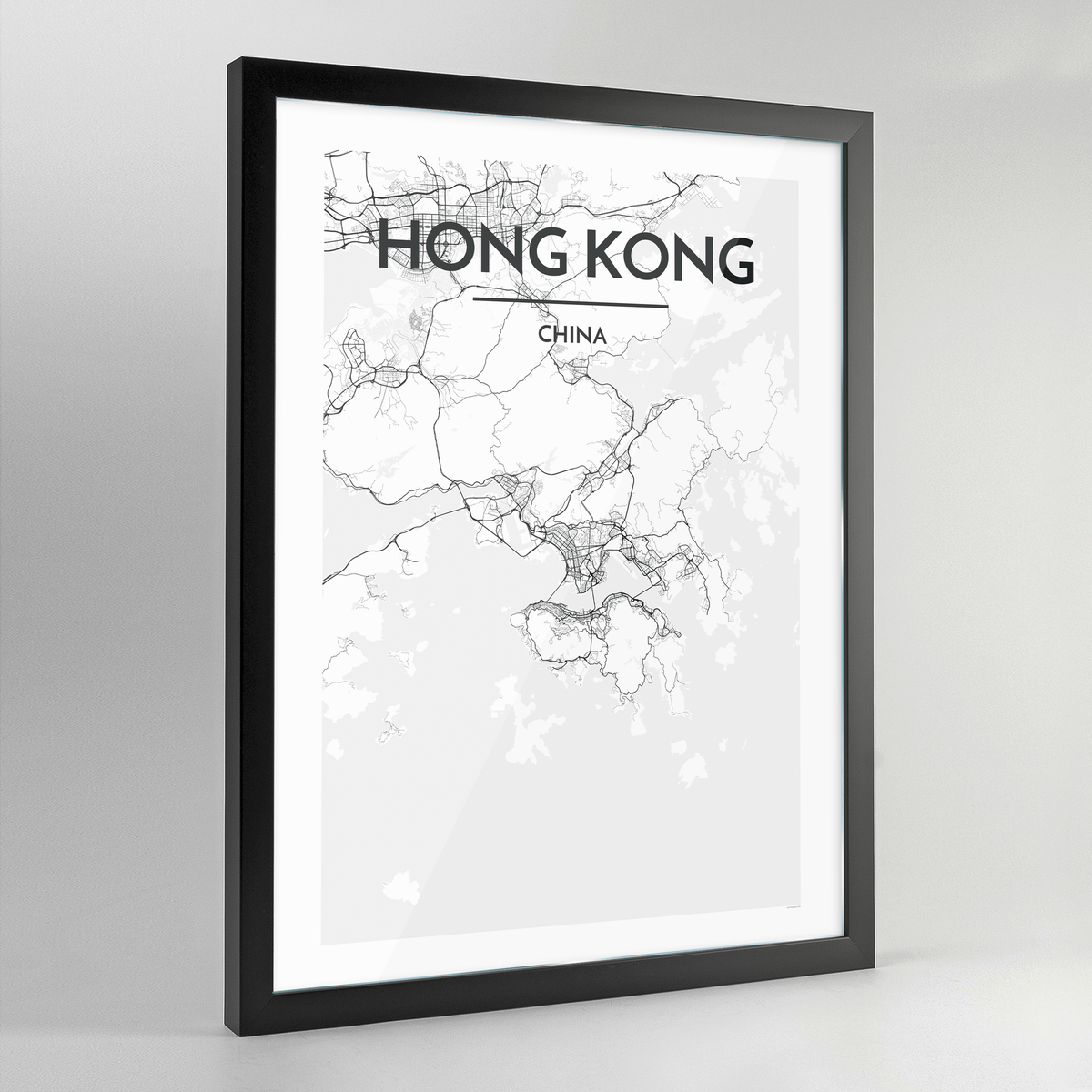Hong Kong Map Art Print - Framed