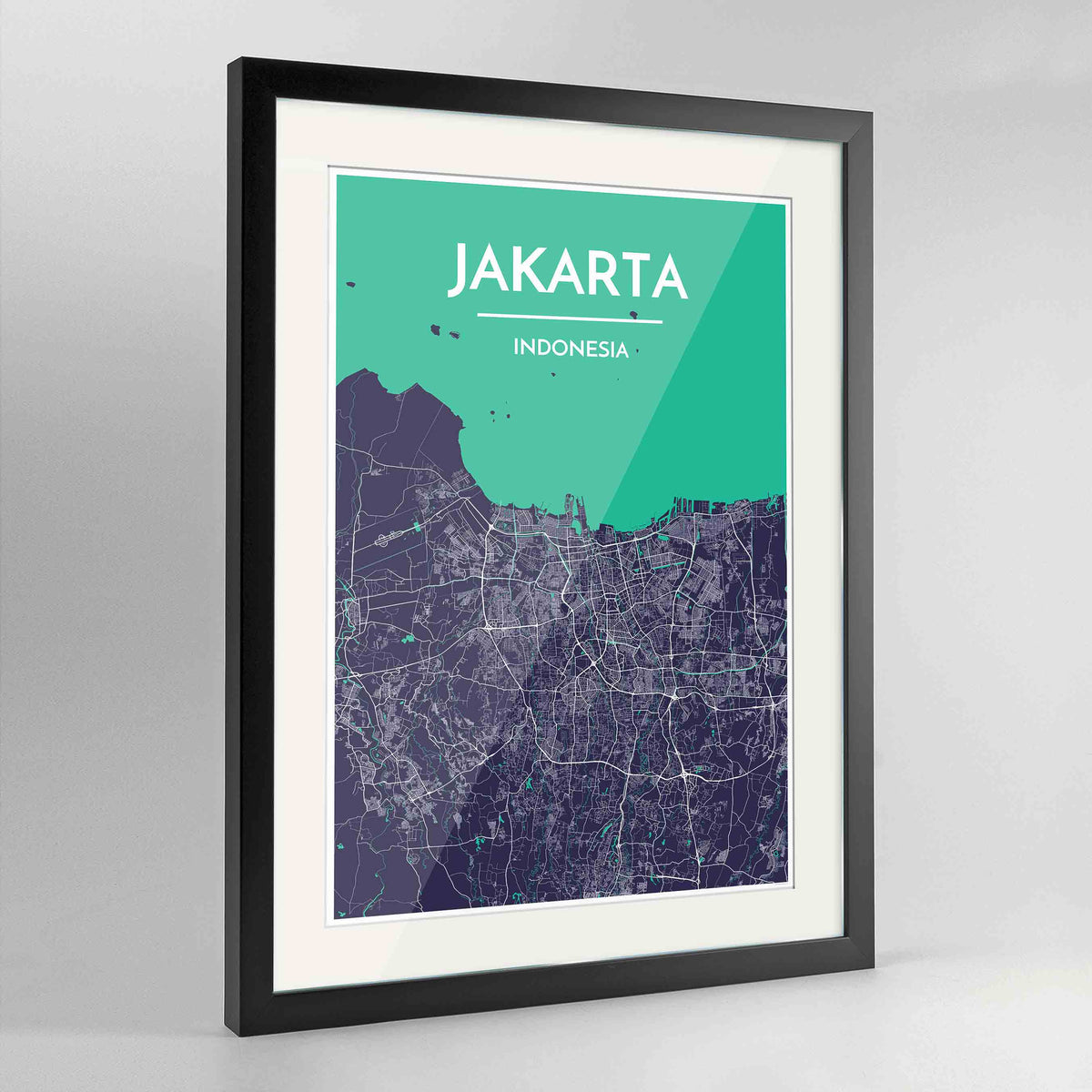 "Framed Jakarta Map Art Print 24x36"" Contemporary Black frame Point Two Design Group"