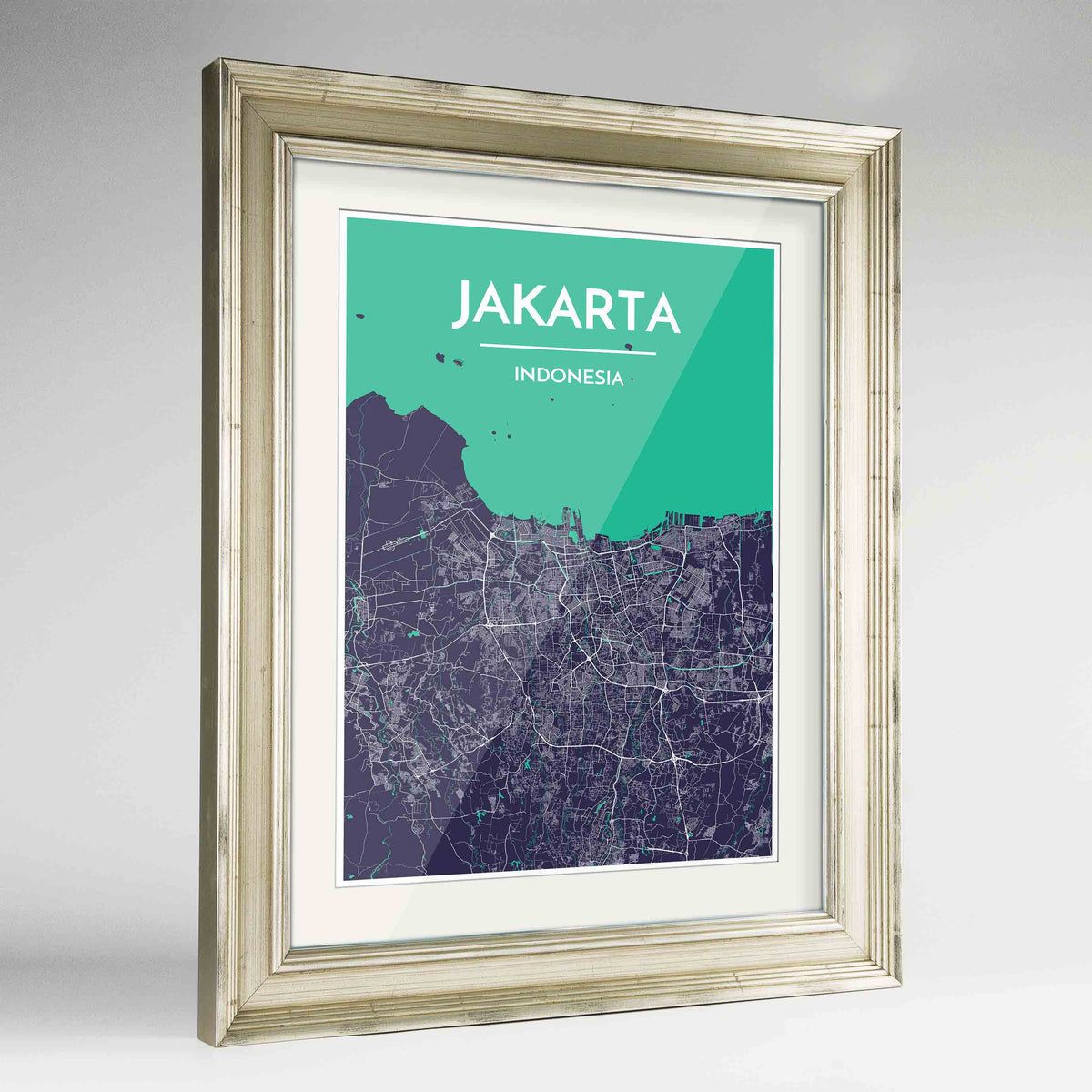 "Framed Jakarta Map Art Print 24x36"" Champagne frame Point Two Design Group"