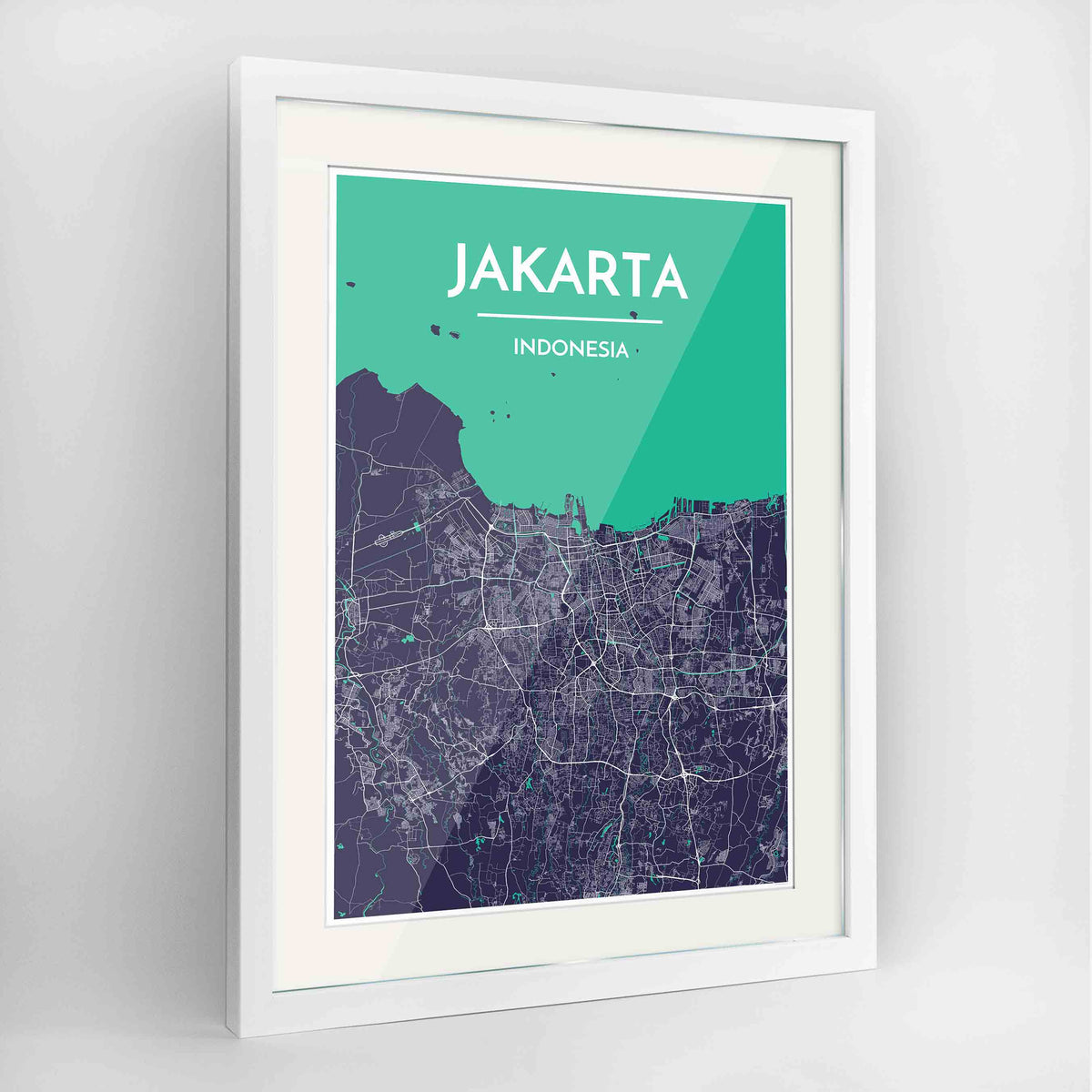 "Framed Jakarta Map Art Print 24x36"" Contemporary White frame Point Two Design Group"