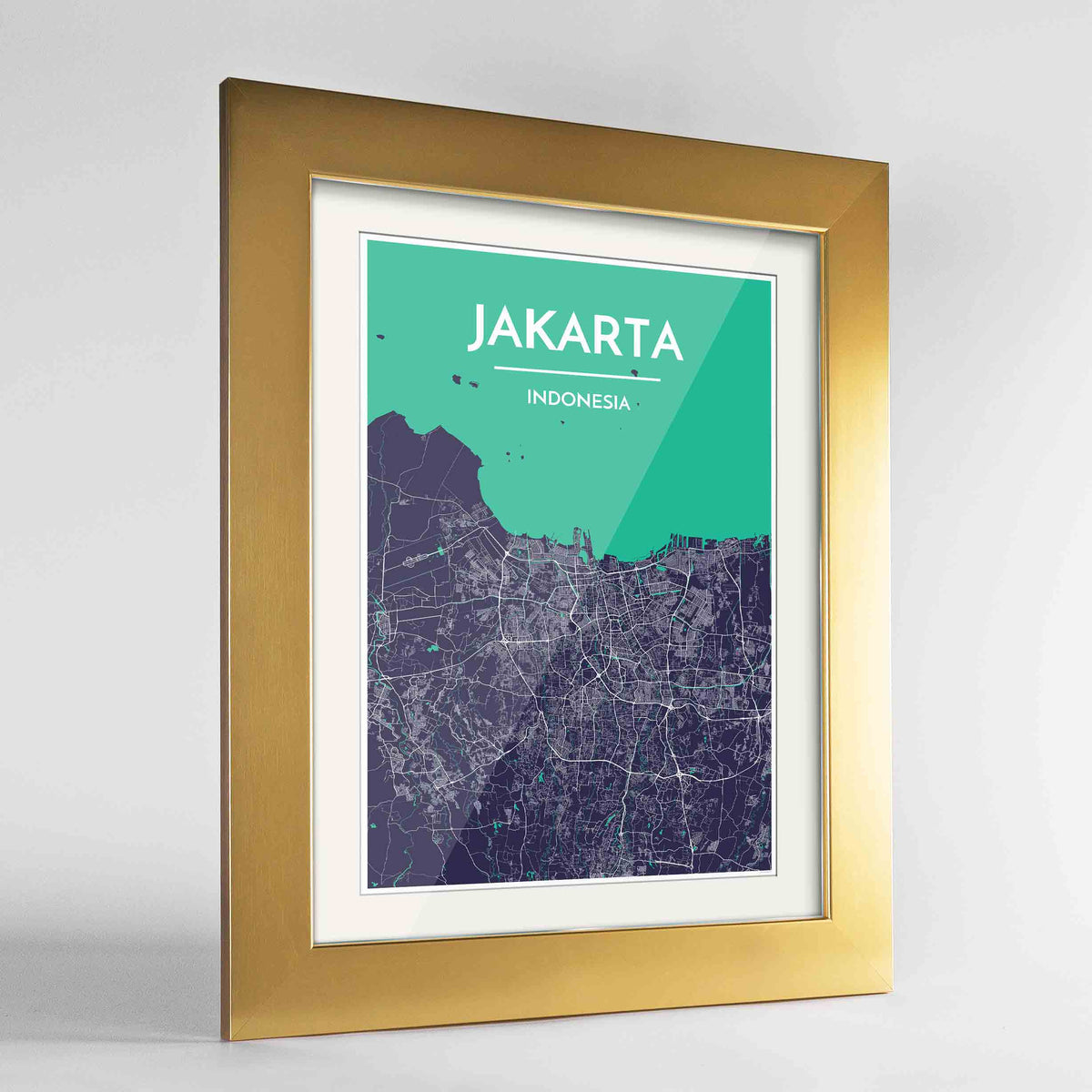 "Framed Jakarta Map Art Print 24x36"" Gold frame Point Two Design Group"
