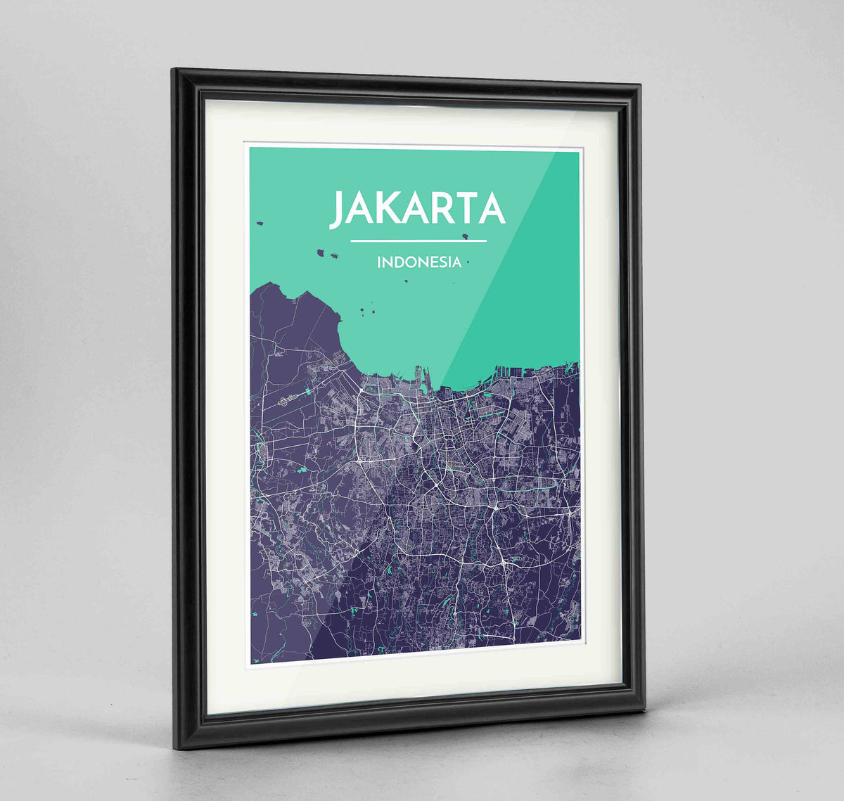 "Framed Jakarta Map Art Print 24x36"" Traditional Black frame Point Two Design Group"