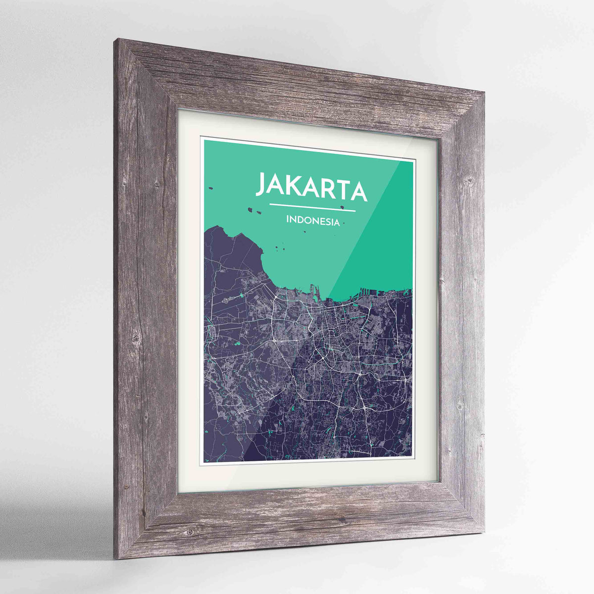 "Framed Jakarta Map Art Print 24x36"" Western Grey frame Point Two Design Group"
