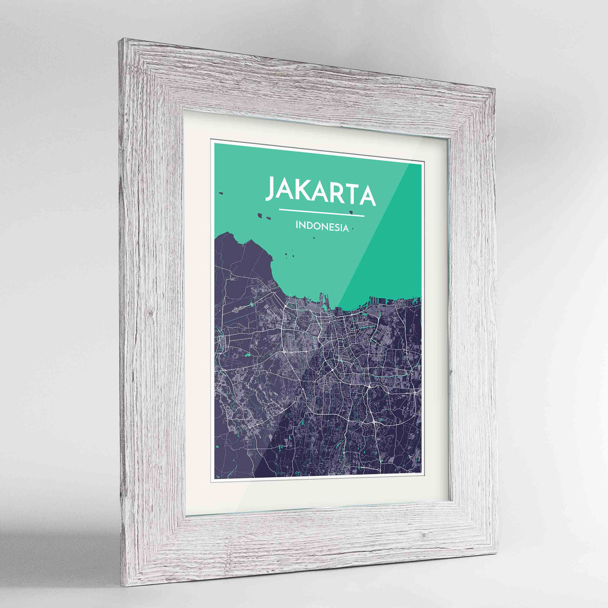 "Framed Jakarta Map Art Print 24x36"" Western White frame Point Two Design Group"