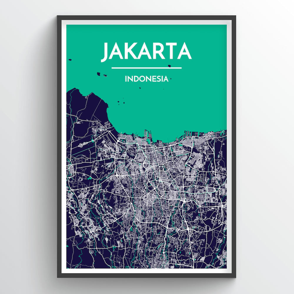 Jakarta City Map Art Print - Point Two Design