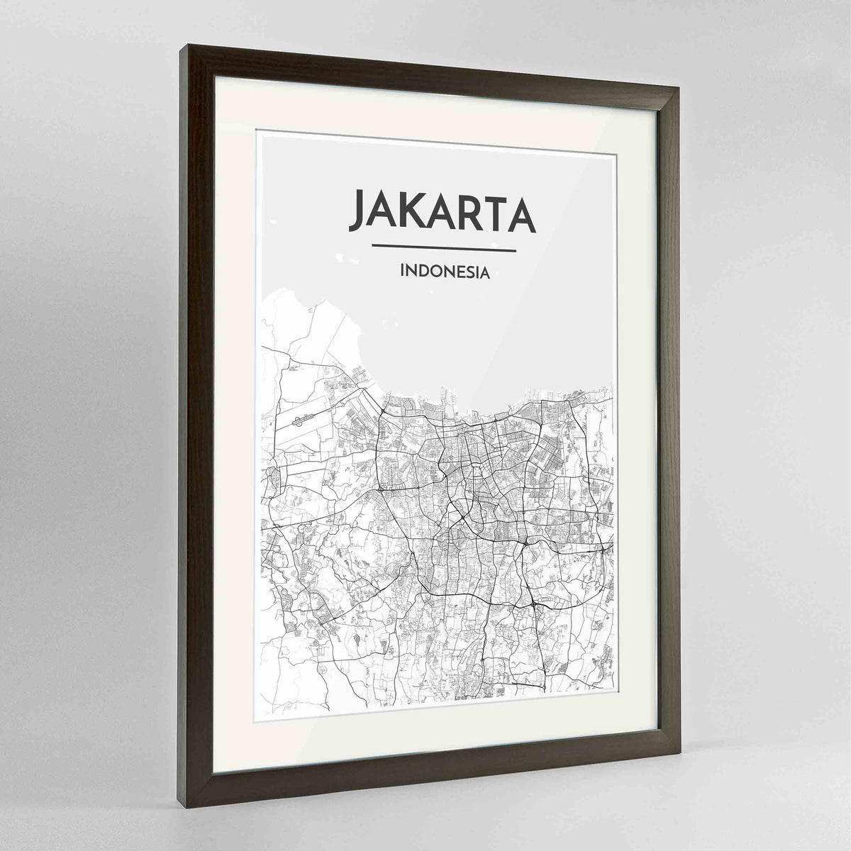 "Framed Jakarta Map Art Print 24x36"" Contemporary Walnut frame Point Two Design Group"