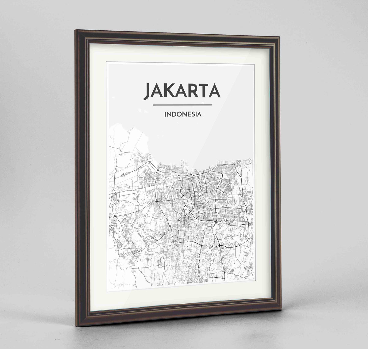 "Framed Jakarta Map Art Print 24x36"" Traditional Walnut frame Point Two Design Group"