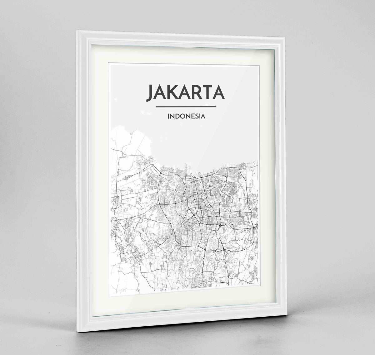 "Framed Jakarta Map Art Print 24x36"" Traditional White frame Point Two Design Group"