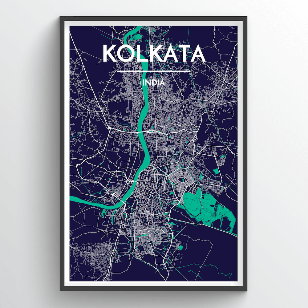 Kolkata City Map Art Print - Point Two Design