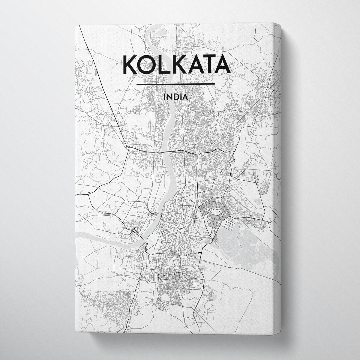 Kolkata City Map Canvas Wrap - Point Two Design - Black & White Print