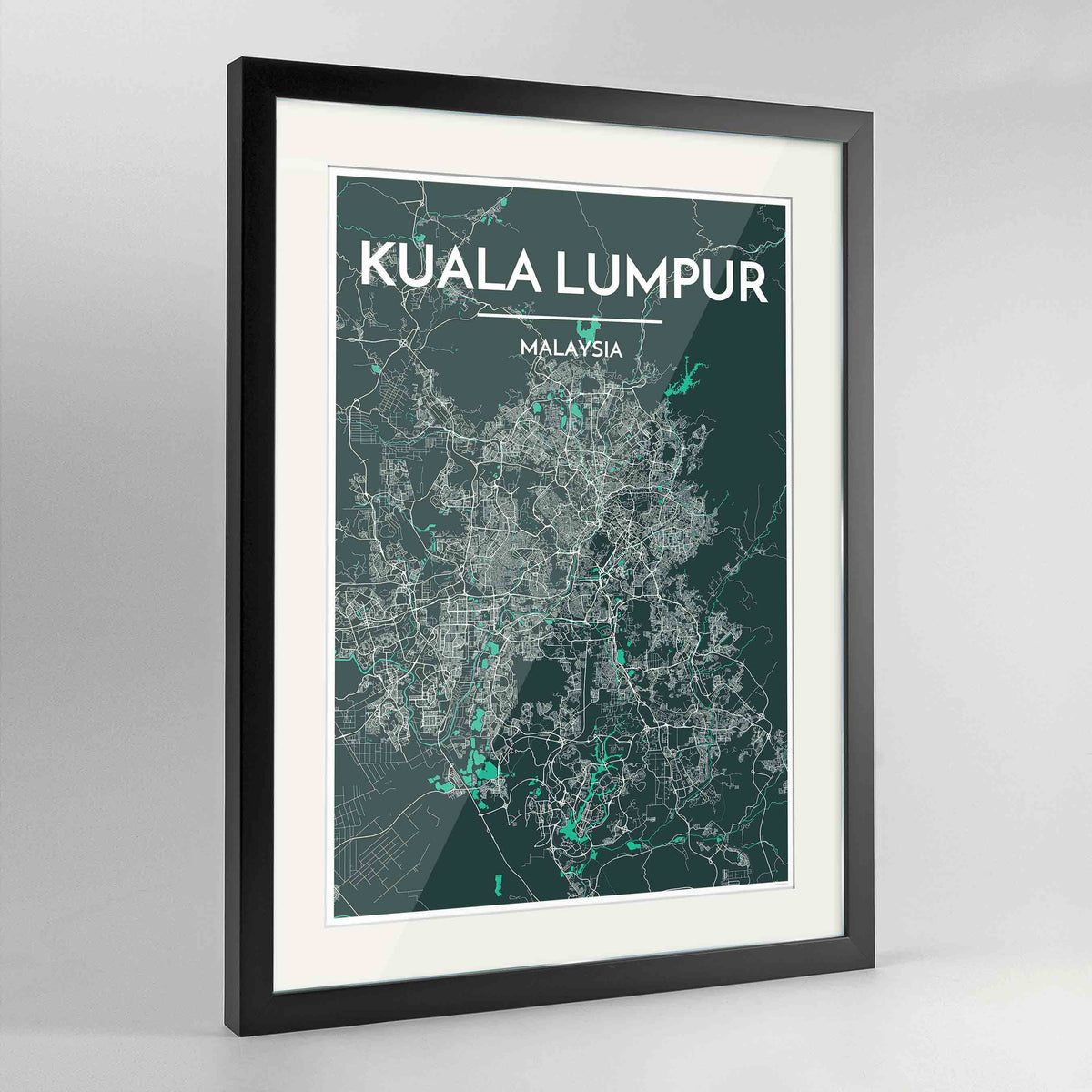 "Framed Kuala Lumpur Map Art Print 24x36"" Contemporary Black frame Point Two Design Group"