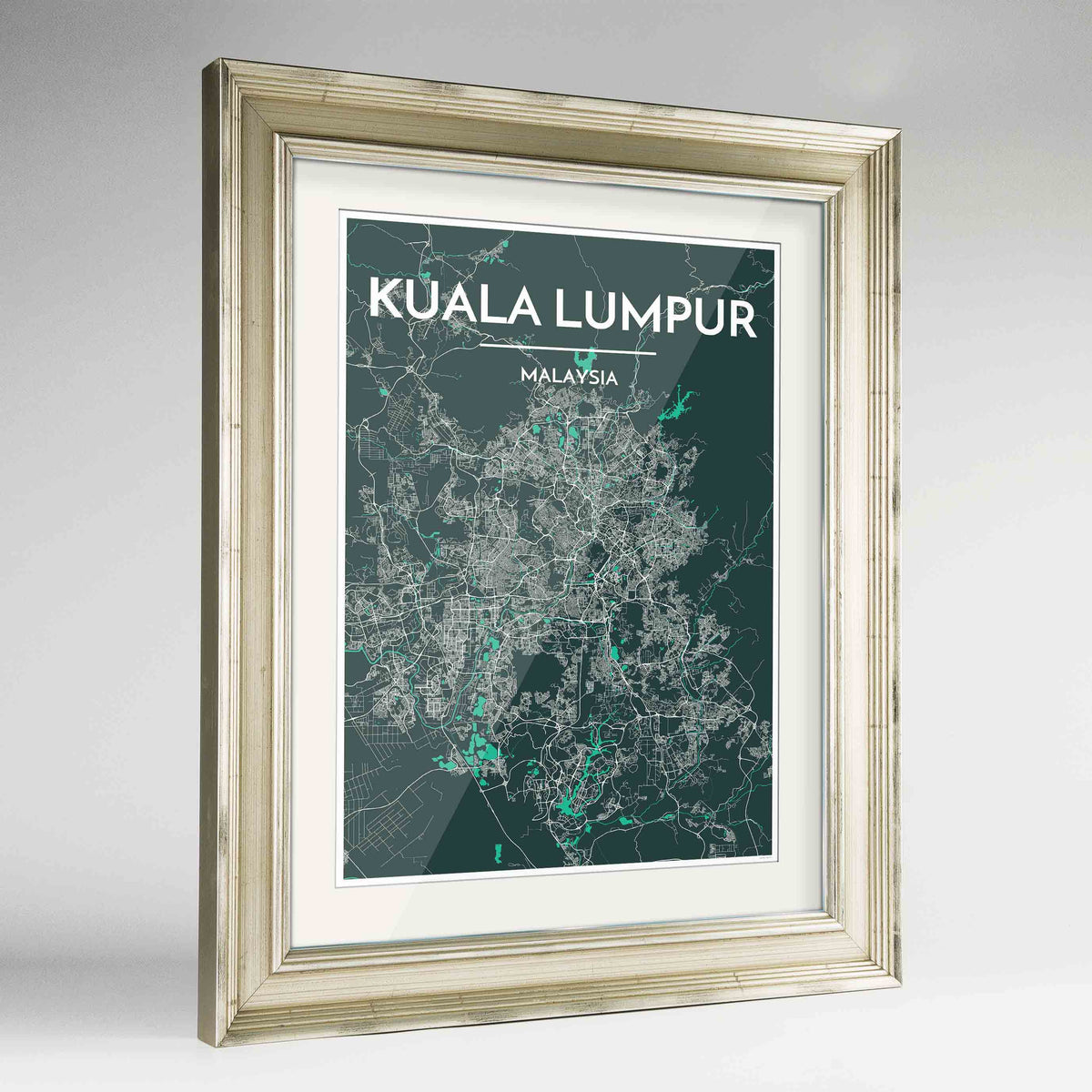 "Framed Kuala Lumpur Map Art Print 24x36"" Champagne frame Point Two Design Group"
