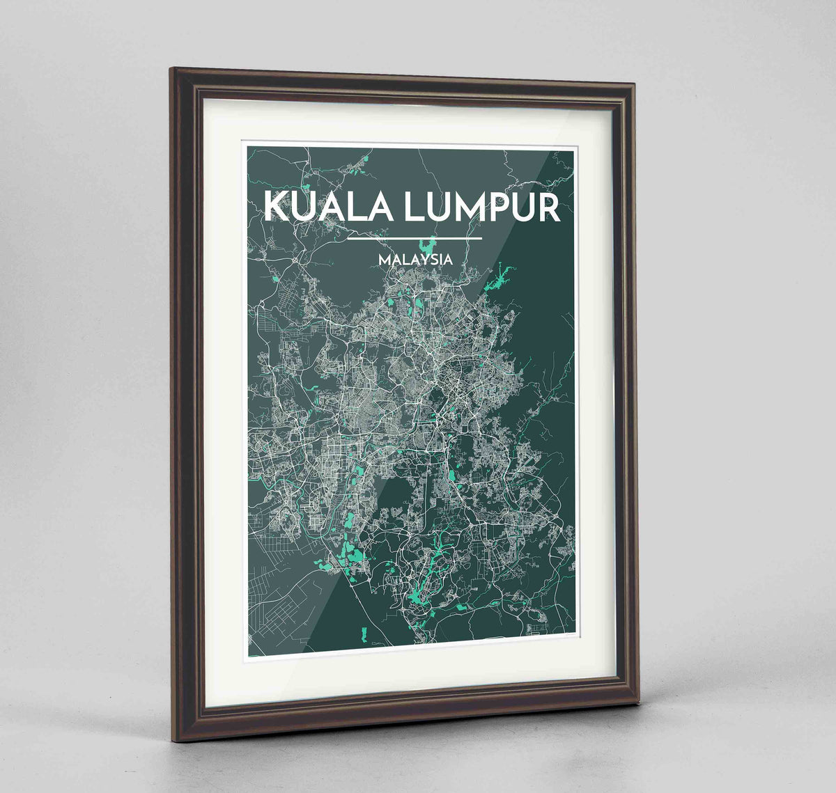 "Framed Kuala Lumpur Map Art Print 24x36"" Traditional Walnut frame Point Two Design Group"