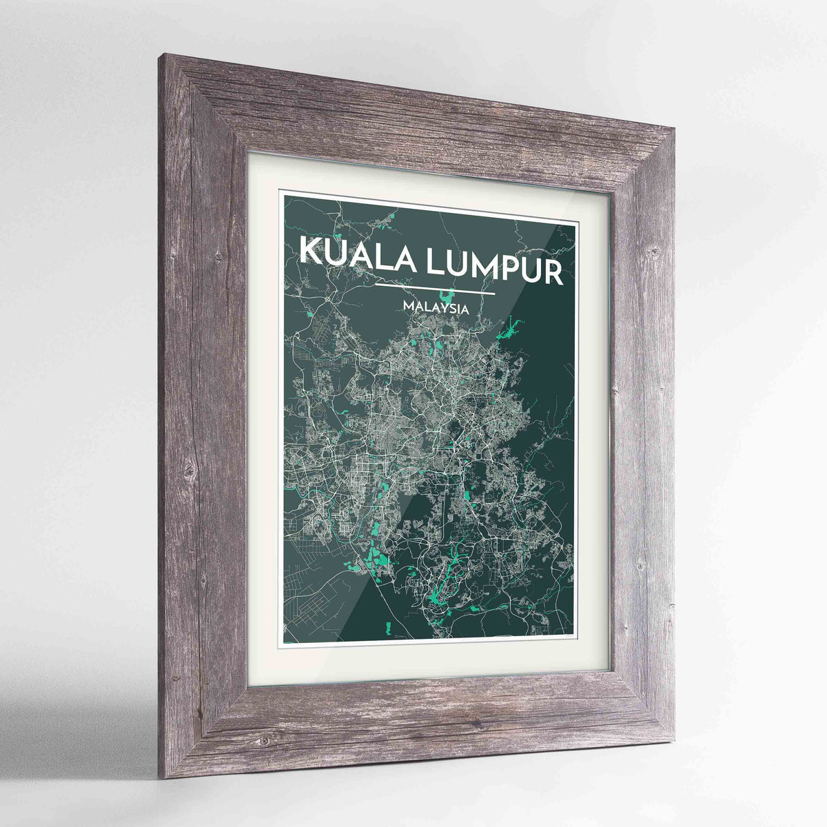 "Framed Kuala Lumpur Map Art Print 24x36"" Western Grey frame Point Two Design Group"