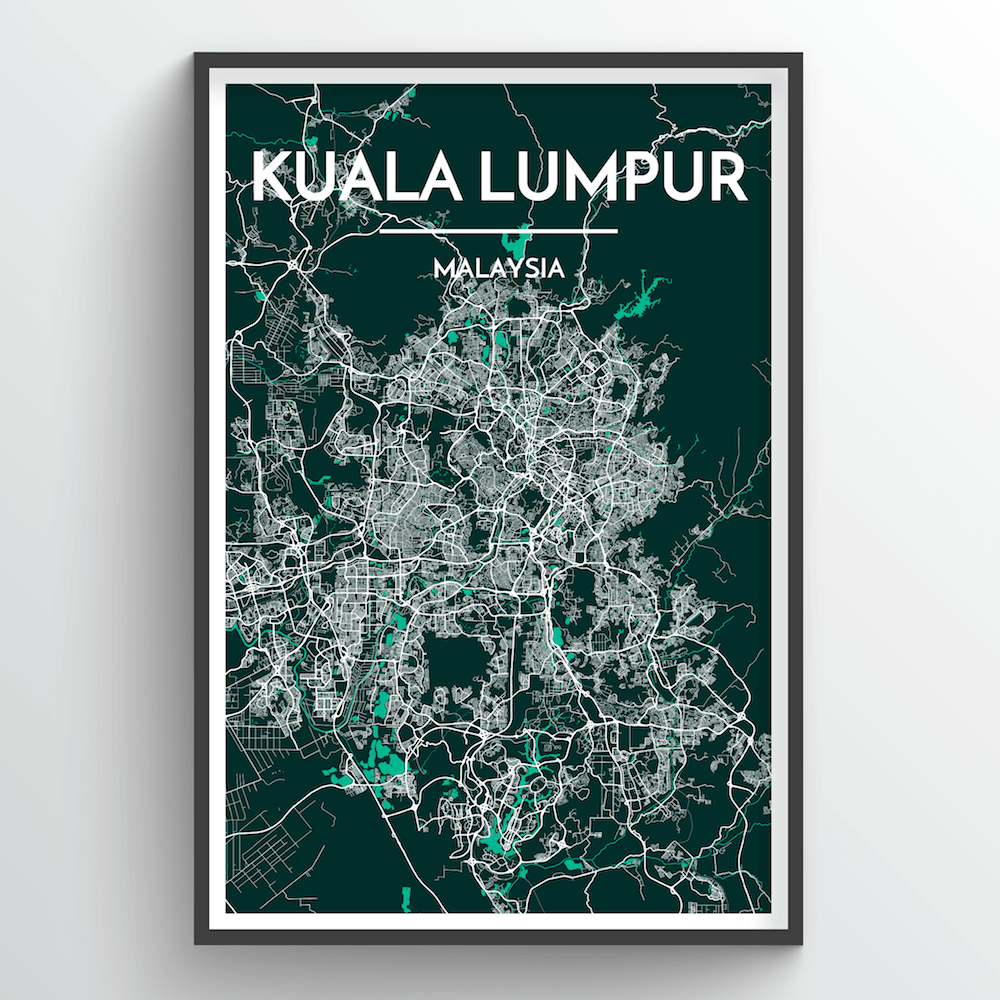 Kuala Lumpur City Map Art Print - Point Two Design