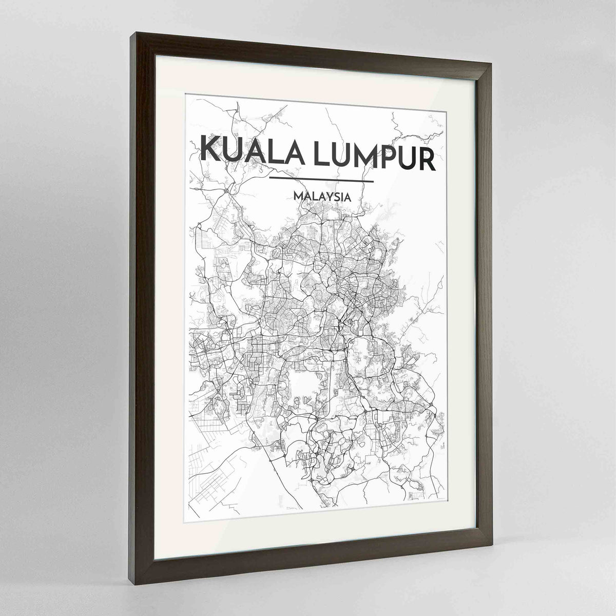 "Framed Kuala Lumpur Map Art Print 24x36"" Contemporary Walnut frame Point Two Design Group"