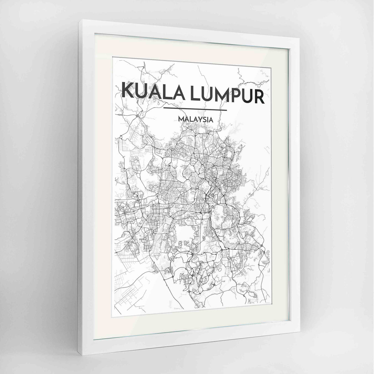 "Framed Kuala Lumpur Map Art Print 24x36"" Contemporary White frame Point Two Design Group"