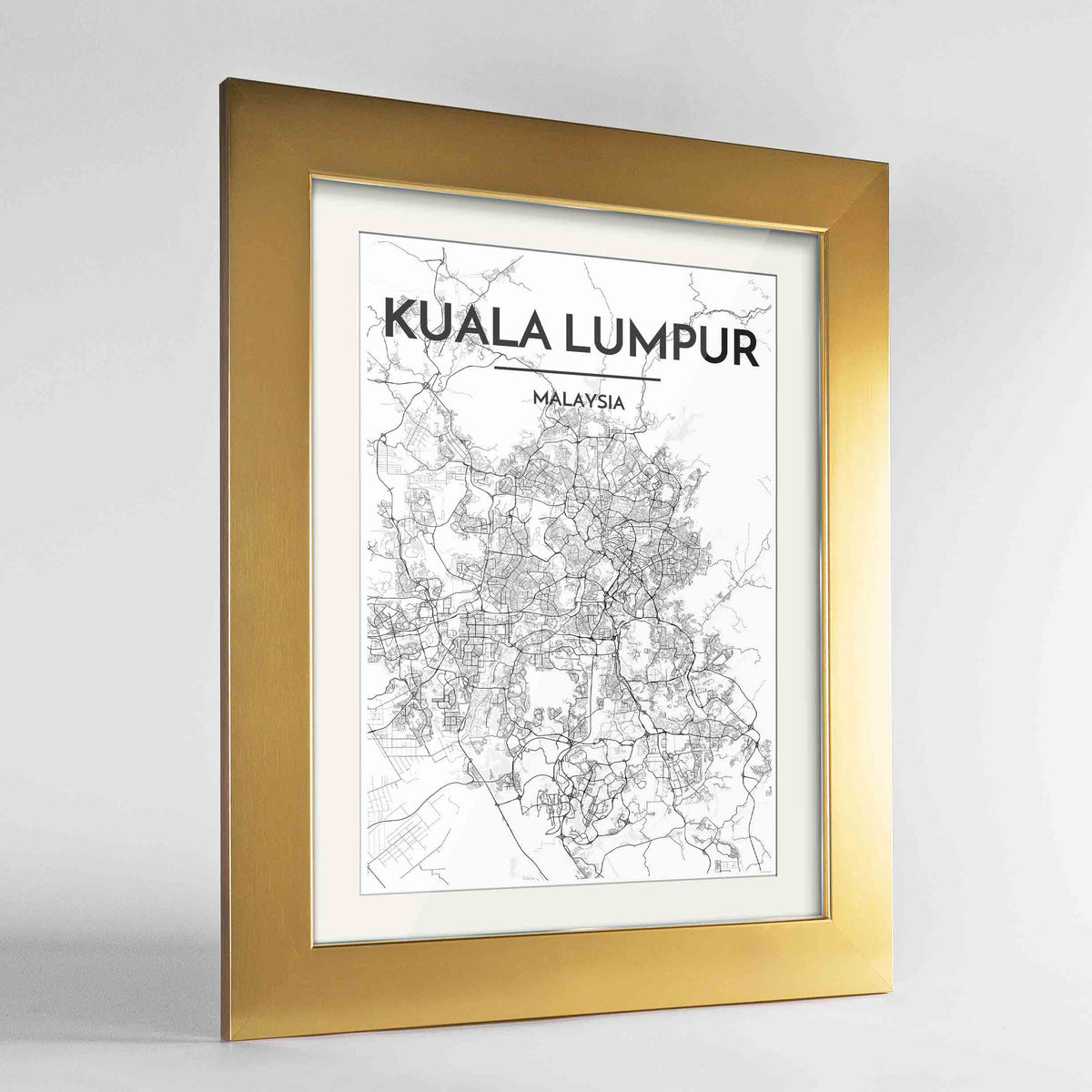"Framed Kuala Lumpur Map Art Print 24x36"" Gold frame Point Two Design Group"