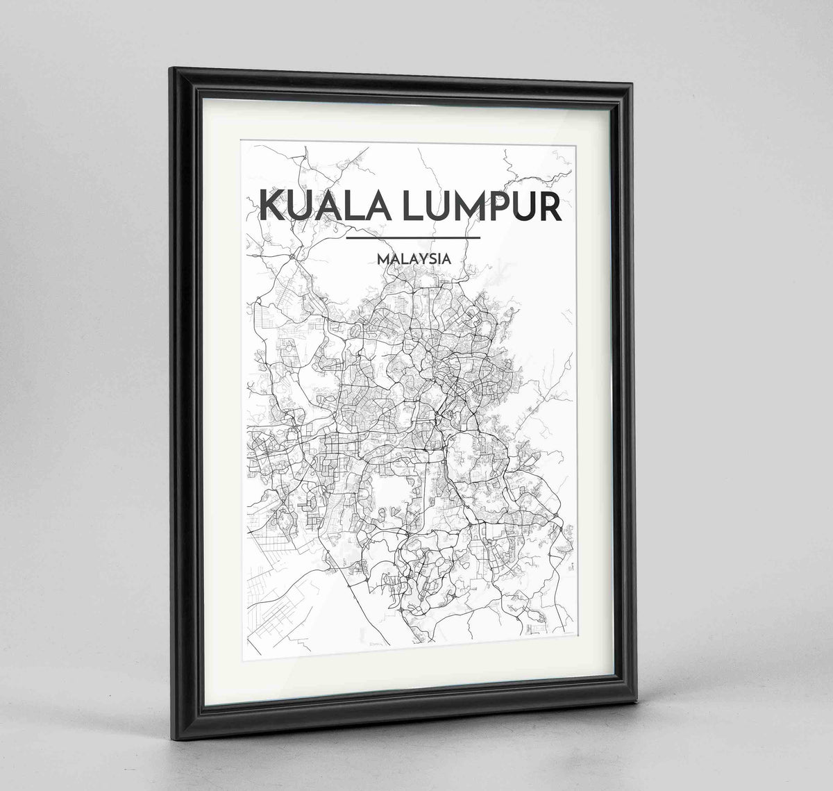 "Framed Kuala Lumpur Map Art Print 24x36"" Traditional Black frame Point Two Design Group"