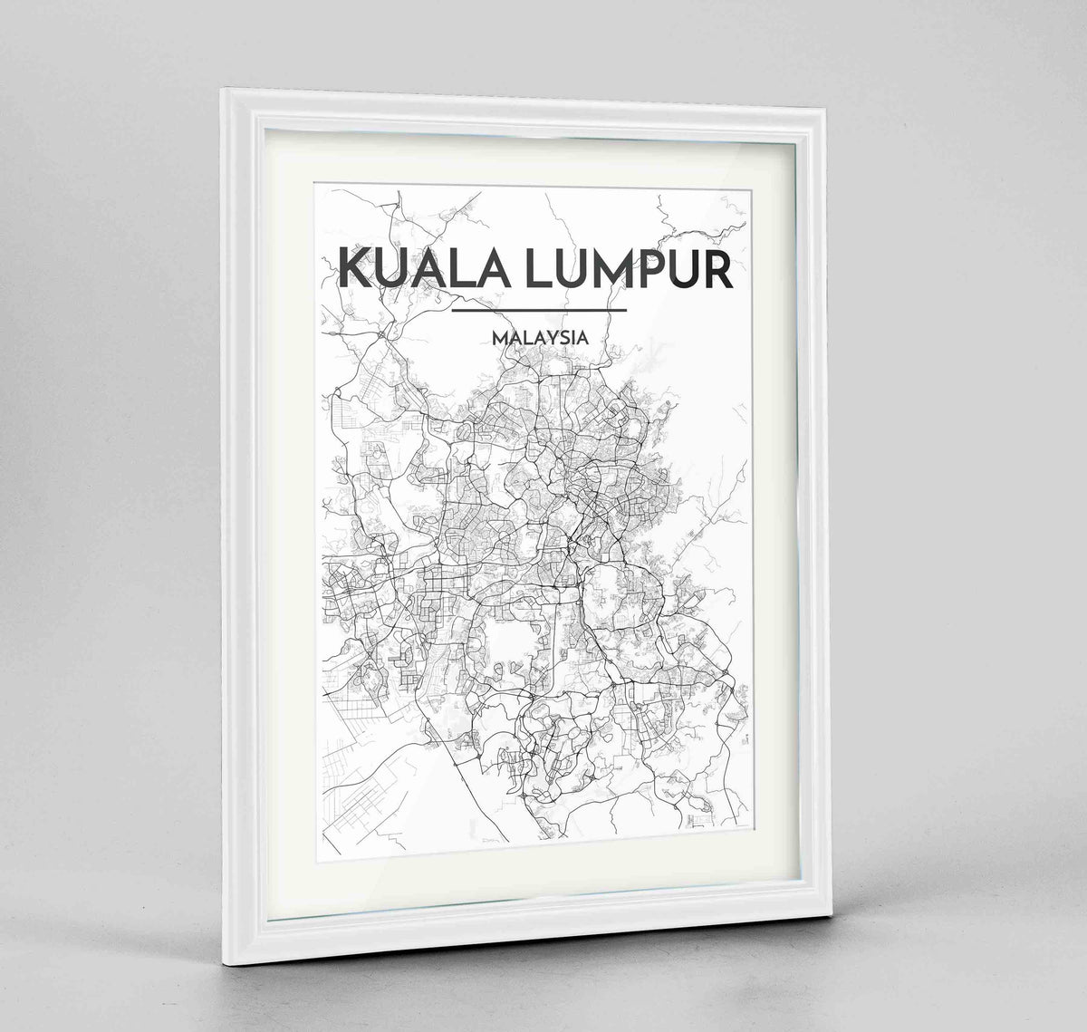 "Framed Kuala Lumpur Map Art Print 24x36"" Traditional White frame Point Two Design Group"