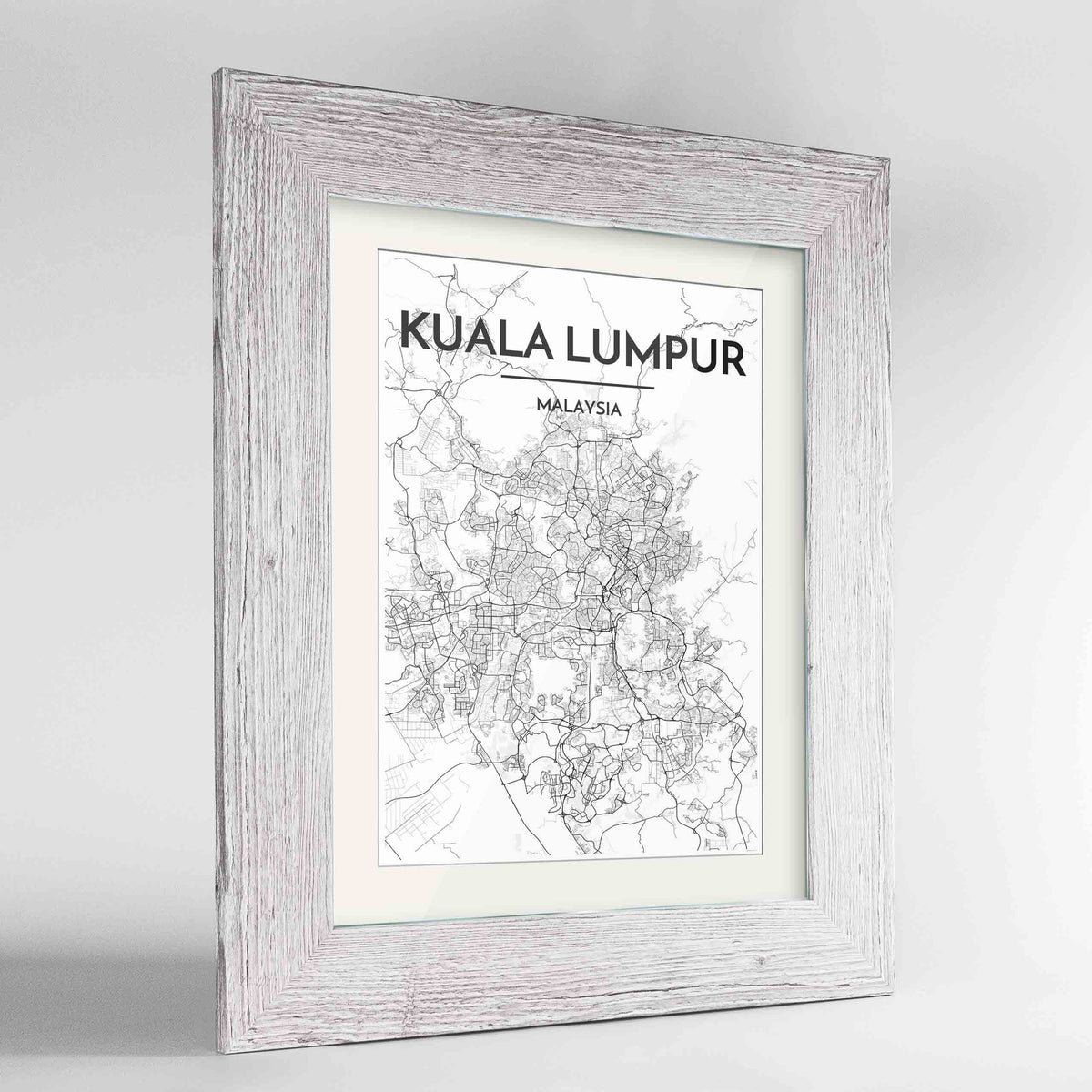 "Framed Kuala Lumpur Map Art Print 24x36"" Western White frame Point Two Design Group"