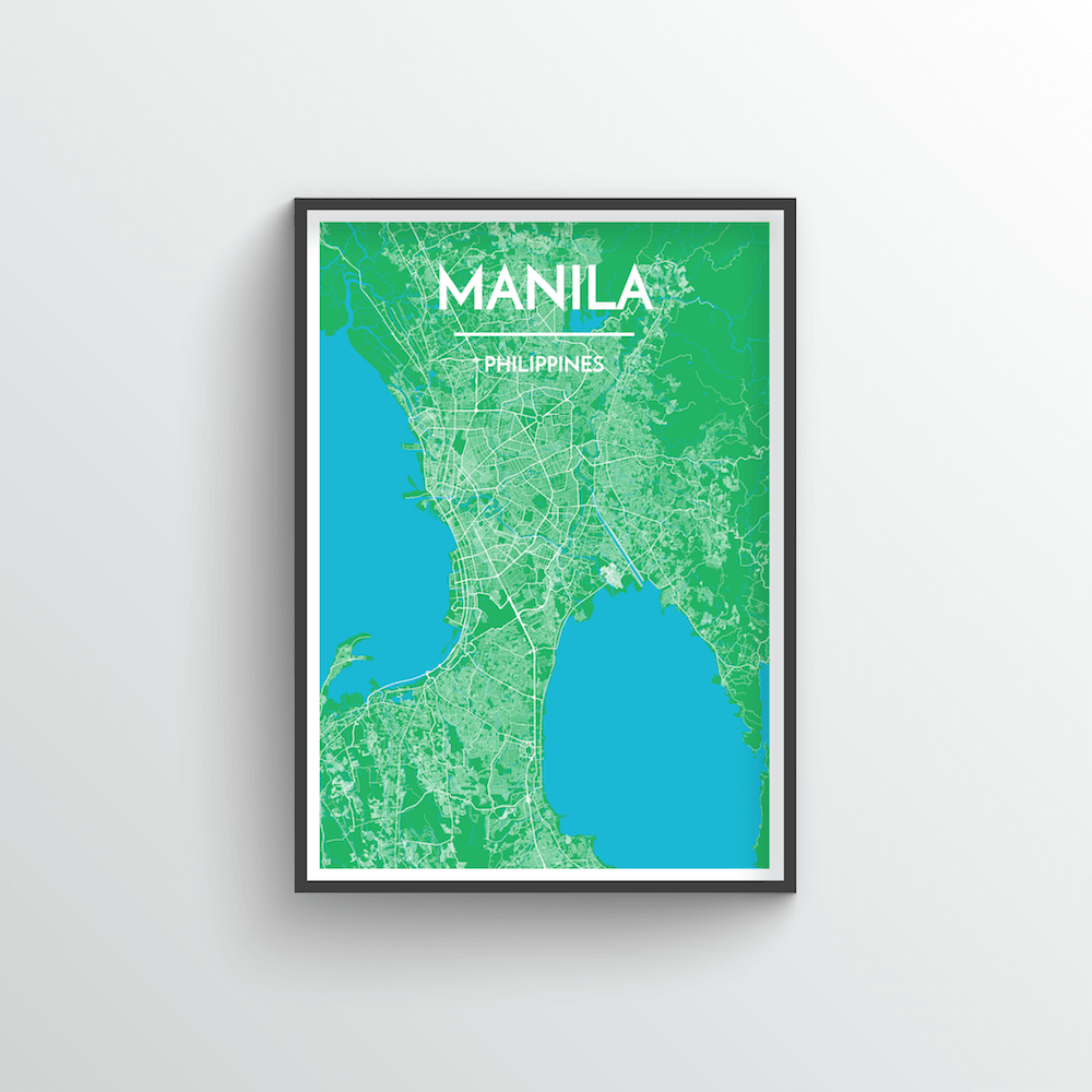 Manila City Map Art Print - Point Two Design - Black & White Print
