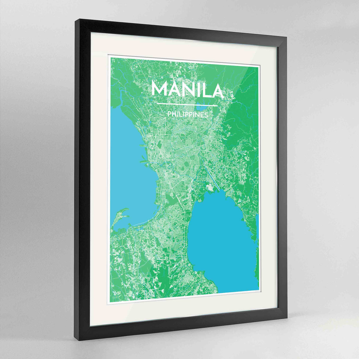 "Framed Manila Map Art Print 24x36"" Contemporary Black frame Point Two Design Group"