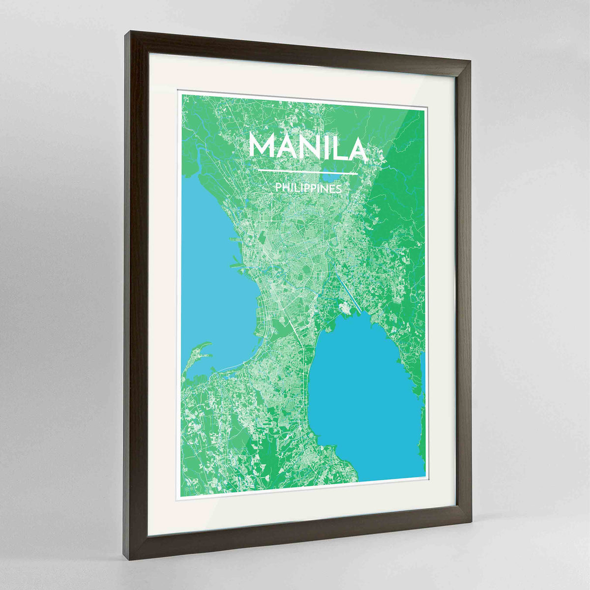 "Framed Manila Map Art Print 24x36"" Contemporary Walnut frame Point Two Design Group"