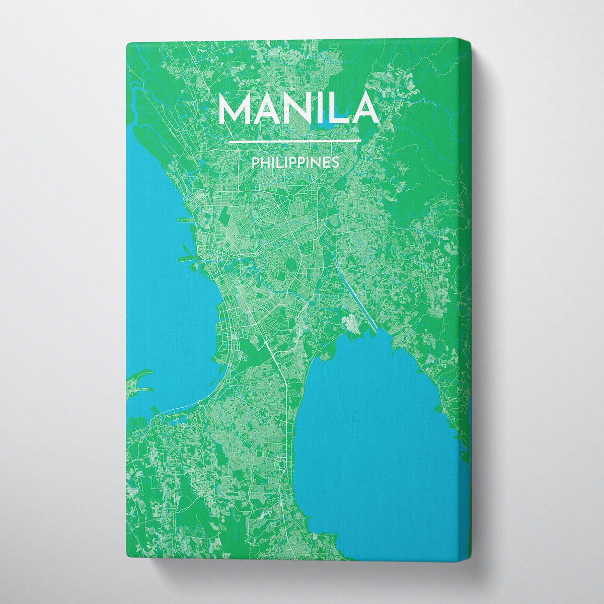 Manila City Map Canvas Wrap - Point Two Design